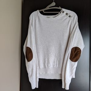 Cream sweater with elbow patches